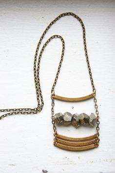 Faceted Peruvian Pyrite Necklace with Vintage Brass Accents