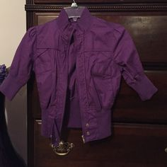 Purple jacket Cute purple jacket with gold buttons and four front pockets. nwt ( not from listed brand) Missguided Jackets & Coats