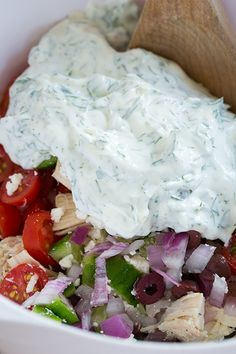 Greek Chicken Salad Sandwiches-- on bread for Cody and maybe on a bead of lettuce for me? These look great