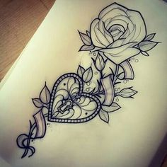 Rose & Heart Locket Tattoo Idea