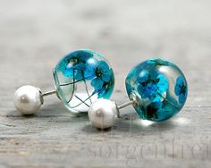 Sterling double sided blue turquoise flower and pearl studs. White pearls and real flowers in resin. Unique earrings for her.