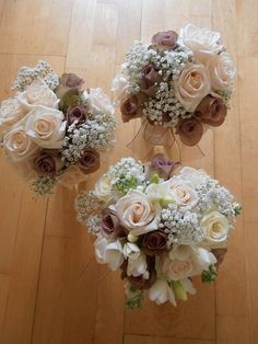 Wedding bouquet- ivory and light brown roses and babies breath mix- Bridesmaid bouquets- pageant bouquet style