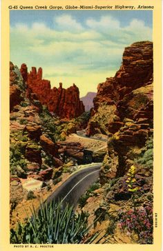 Vintage Arizona postcard of Queen Creek Gorge and Globe-Miami-Superior Highway.