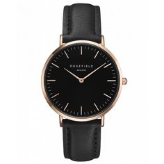 Rose gold ladies watch Bowery - black leather strap   ROSEFIELD Watches