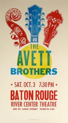 Beautiful Avett Brothers gig poster