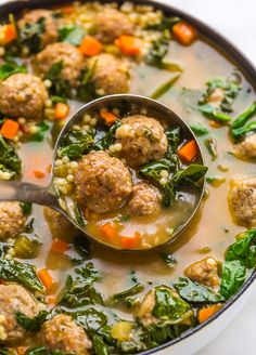 The Best Soup Recipes to keep you Warm this Fall and Winter - Baker by Nature Italian Wedding Soup Recipe, Italian Soup, Beef And Pork Meatballs, Meatball Soup, Soup Recipes, Recipies, Candy Recipes, Pasta Recipes, Chicken Recipes