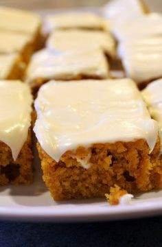 Pumpkin Bars - They were so good, especially because of the cream cheese frosting!!