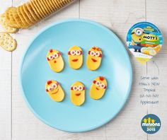 Feed those hungry minions! Here's a fun homemade snack of cheese and crackers to serve up during movie or game time. Click through for full recipe at motts.com