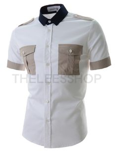 (DMSS01-BEIGE) Mens Slim Fit Stretchy Two-Tone Two-Chest Pocket Short Sleeve Shirts