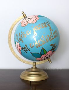 CUSTOM Hand-Painted Globe . Made-to-order . 12 by limefishshop