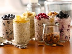 """Superpower"" Overnight Oatmeal made with Greek yogurt, old-fashioned oats and chia seed. Stir-in your favorite fruit and nuts!"