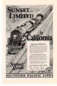 24x36 1930 Southern Pacific Railroad Sunset Route Vintage Style Travel Poster