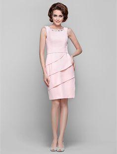 Sheath/Column Jewel Knee-length Chiffon Mother of the Bride Dresses - USD $ 89.69