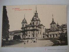 ANTIGUA TARJETA POSTAL SEGOVIA LA GRANJA,LA COLEGIATA Y PALACIO REAL FOTO. THOMAS LOTA125