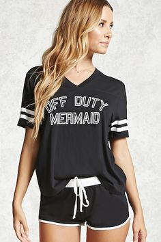 """A PJ set featuring a knit tee with an """"Off Duty Mermaid"""" text graphic, a V-neckline, seam construction framing the yoke, and varsity striped short sleeves, as well as a pair of knit shorts with an elasticized drawstring waist and contrast trim. Satin Pyjama Set, Pajama Set, Forever 21 Pajamas, Pajamas For Teens, Cute Sleepwear, Girls Pjs, Teenage Girl Gifts, Teenage Outfits, Cozy Pajamas"""