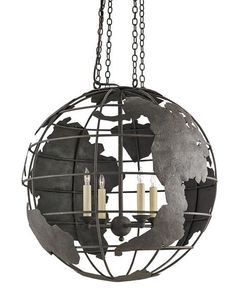 Currey & Company Mondo Orb Chandelier on sale. A stylized globe is updated with modern industrial accents to create the look of the Mondo Orb Chandelier. Industrial Chandelier, Black Chandelier, Black Lamps, Pendant Chandelier, Modern Chandelier, Chandelier Lighting, Industrial Loft, Black Lights, Black Ceiling
