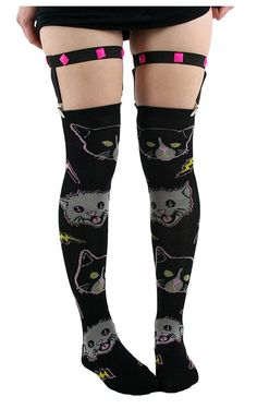 Kitty Rocks Garter Socks by Too Fast