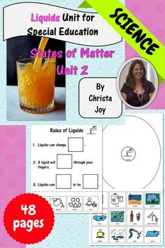 States of Matter : Liquids unit contains over 40 pages of material specifically designed for students with special learning needs, especially autism. This unit address the characteristics of liquids and includes books, activities and assessments. It is p
