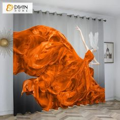 DIHINHOME Home Textile Kid's Curtain DIHIN HOME 3D Printed Dancing Girl Blackout Curtains,Window Curtains Grommet Curtain For Living Room ,39x102-inch,2 Panels Included