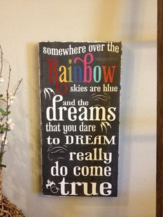 Somewhere over the Rainbow- chalkboard style - vintage lettering - with Rainbow letters -. $55.00, via Etsy.