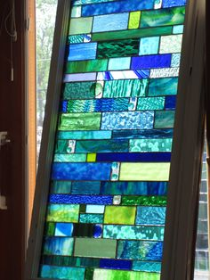 sea glass Stained glass Custom order in Vintage window  stained glass panel. $600.00, via Etsy.