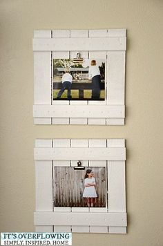 20 best DIY picture frame tutorials - It's Always Autumn do a whole wall of thesee DIY repurposed wood frames with clips in the kitchen so the art is changeable with kids school work for seasonal decor Diy Photo, Cadre Photo Diy, Wood Photo, Diy Craft Projects, Scrap Wood Projects, Pallet Projects, Simple Wood Projects, Repurposed Wood Projects, Wood Projects For Kids