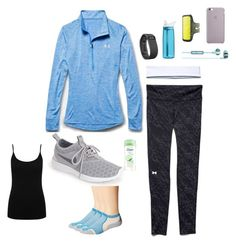 """outfit"" by sophiect ❤ liked on Polyvore featuring Under Armour, NIKE, Fitbit, Thorlos, CamelBak, Skullcandy, Dove, M&Co, women's clothing and women"