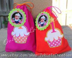 Cupcake theme treat bags