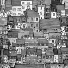 City Rooftops Black and White 8in X 8in Art Print by DannyRoberts, $20.00