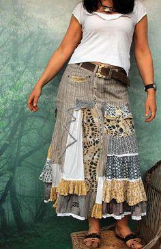 M Gray and cream shabby chic long skirt hippie boho recycled