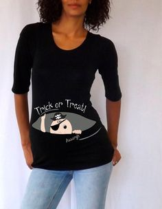 Peek a boo Maternity Halloween shirt  Trick or by DJammarMaternity