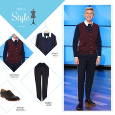 Ellen S Look Of The Day Navy On Up Color Block Cardigan Pants Black Shoes Makeup By Heather Currie Beauty Degeneres Style