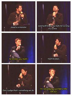Misha Collins and Mark Pellegrino TorCon 13. Jared fondling Misha's balls. haha