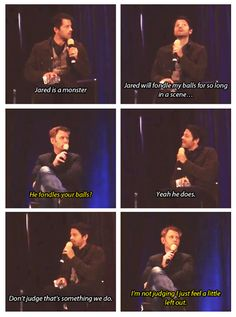 Misha Collins and Mark Pellegrino TorCon 13. Jared fondling Misha's balls. haha