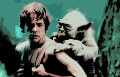 Star Wars Luke and Yoda Pop Art