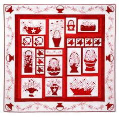"""Redwork Baskets in Bloom. Red appliqué baskets combined with redwork embroidery  make this quilt a red and white delight. 61"""" x 62"""""""