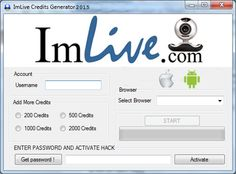 Imlive Credit Generator 2015 (iOS, Android, Mac) Free Hack Unlimited Credits   No Survey. ImLive Adder Credits Generator 2015 is available FREE so you don't need to go through any of the survey. Simply click on download button to download hack tool free for Android, iOS, PC