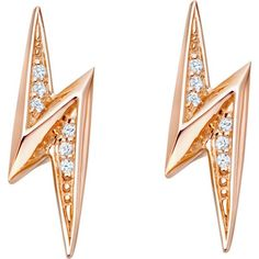 Astley Clarke Biography lightning bolt 18ct rose gold-plated sapphire... ($80) ❤ liked on Polyvore featuring jewelry, earrings, stud earrings, astley clarke jewelry, lightning bolt earrings, lightning bolt jewelry and punk earrings