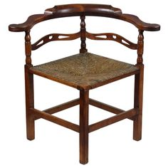 Cherry Corner Chair, Probably New Hampshire, Late 18th Century | From a unique collection of antique and modern corner chairs at https://www.1stdibs.com/furniture/seating/corner-chairs/