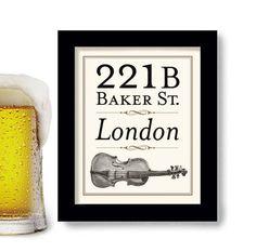 Sherlocked, London England, 221B Baker Street, Sherlock Holmes Art, BBC on Etsy, $18.00