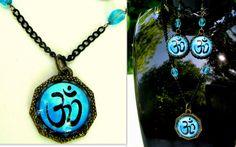 Glass Jewellery Sets – Trendy jewelry SET, Turquoise OHM cabochon – a unique product by CamelysUnikatBijoux on DaWanda