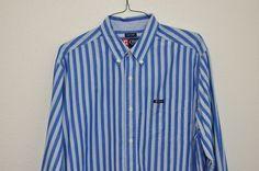 Men shirt Chaps Easy Care XL pocket long sleeve bottom down striped Blue #Chaps #ButtonFront