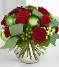 Red and green Christmas bouquet
