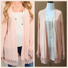 Beautiful Blush Pink Cardigan/Kimono This cardigan is so beautiful. It has a nice flow and beautiful color. This one is a small. I also have this in a medium. NWOT Sweaters Cardigans