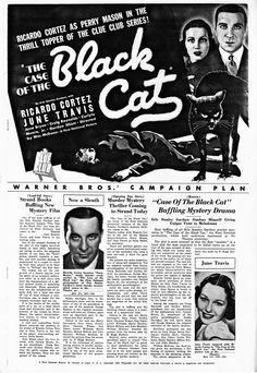 Ricardo Cortez in The Case of the Black Cat (1936).  Press Book, Page 1.  From the Jim Davidson Collection.