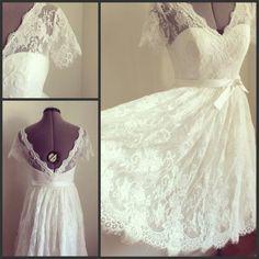 Wholesale Lace a Line - Buy Elegant Lace A Line V-Neck Short Sleeve Short Wedding Dresses Plus Size With Sash Wedding Dresses Dress Backless Tulle, $83.67   DHgate.com