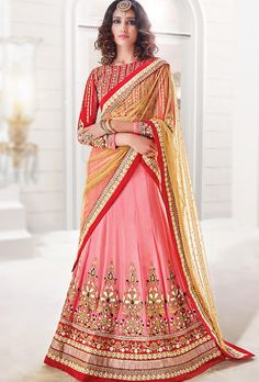 LEHENGA: Pure Georgette (Semi-Stiched Fit Upto 42) DUPATTA: Soft Net  BLOUSE: Banglori Silk (Semi-Stiched Fit Upto 42) COLOUR: Red and Pink WORK: Embroidery SHI