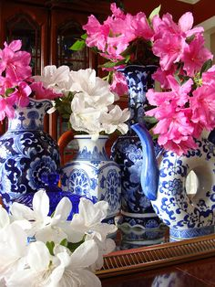 Pink, white, and blue.  Judy do you ever bring in your crepes.  They would look so pretty in your blue vases