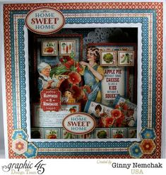 Love the fussy cutting on this gorgeous altered Matchbook Box from Ginny using Home Sweet Home! #Graphic45