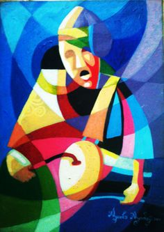 This painting of the African drummer makes me ponder... is there any culture on this planet without drums of one sort or the other?... we are diverse yet the same at the very core of our beings. The sharp contrasting colours represent this diversity yet the image and message is clear...no matter the creed or colour we are same at the very of our existence.